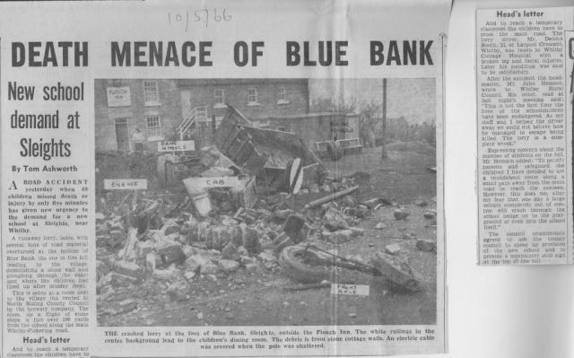 Crash on Blue Bank, Sleights, calls for new school