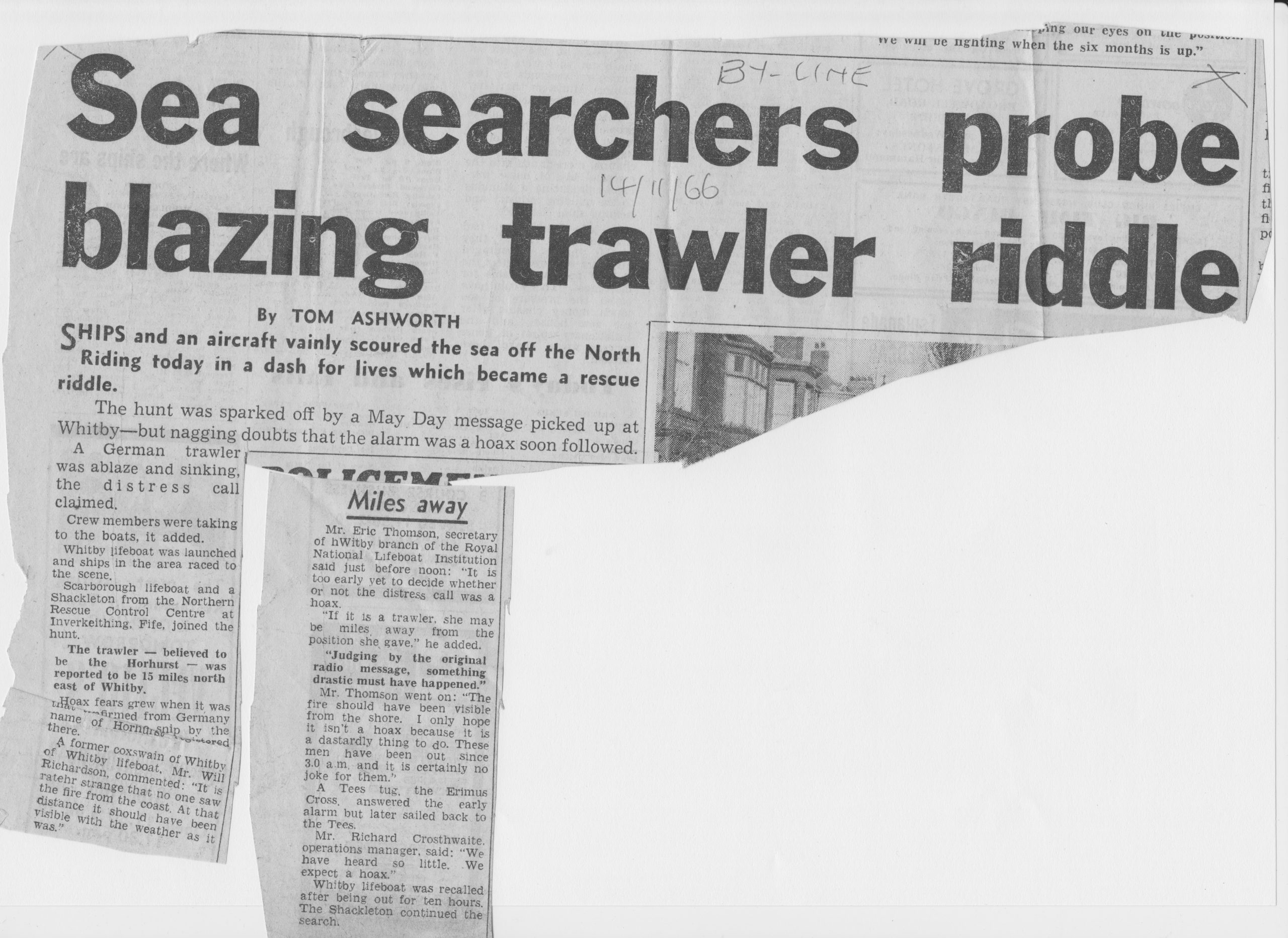 Major sea search for blazing trawler finds nothing