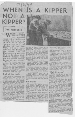 Feature article about Whitby kipper smoking