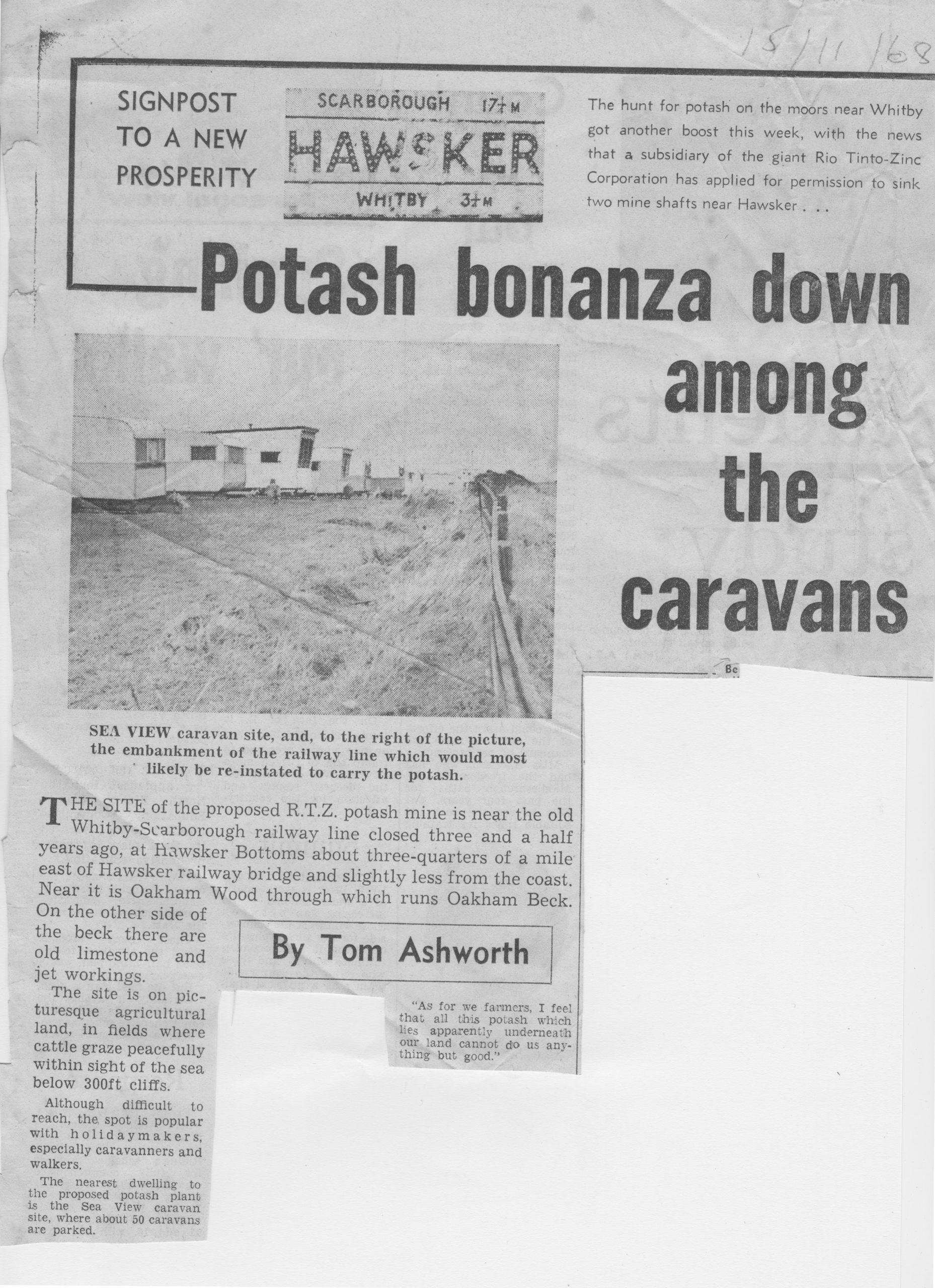 Potash mine is to be at Hawsker near caravan sites