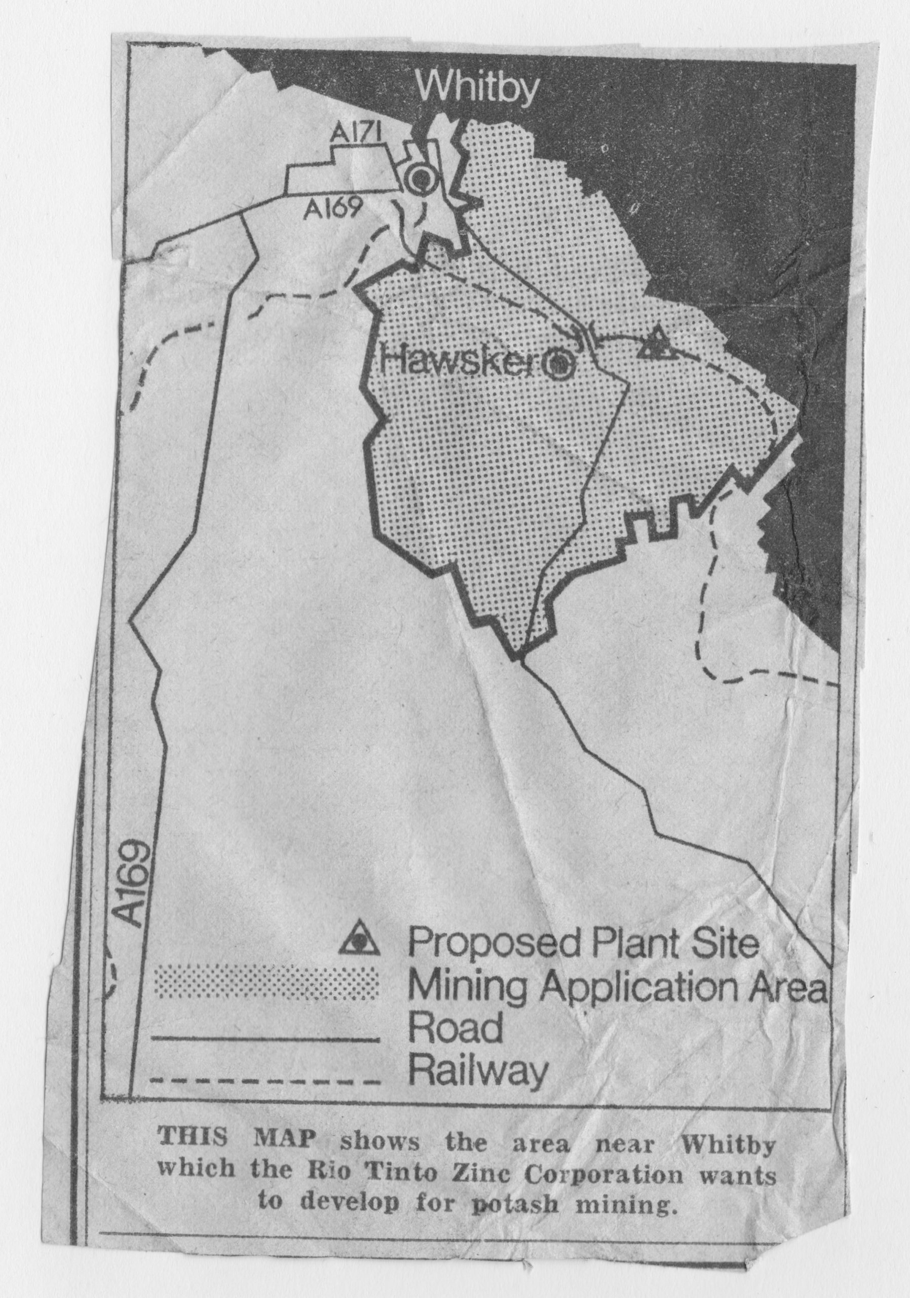 Map of the proposed potash mine at Hawsker