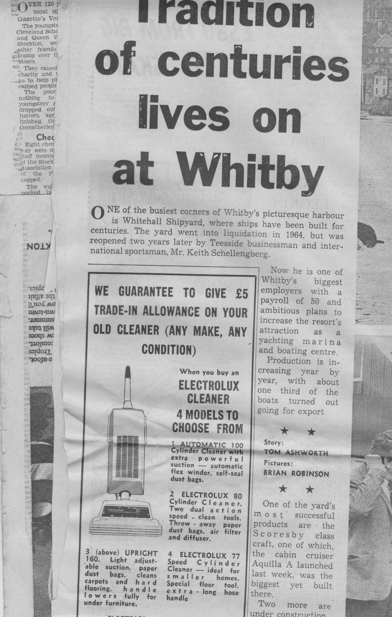Full page feature on Whitby still building ships (pictures not reproducing well)