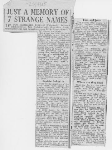 The names of the Polish seamen seeking asylum