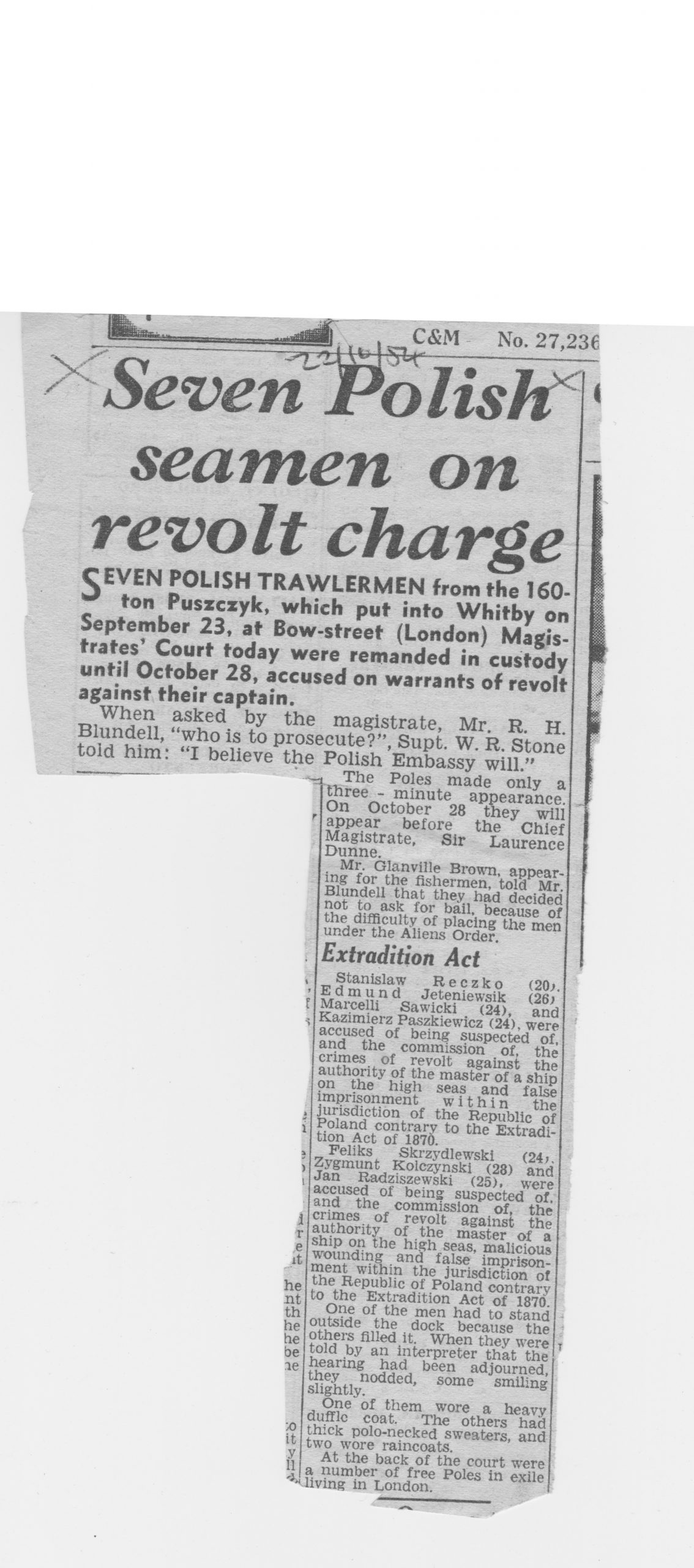 Polish seamen charged with revolt