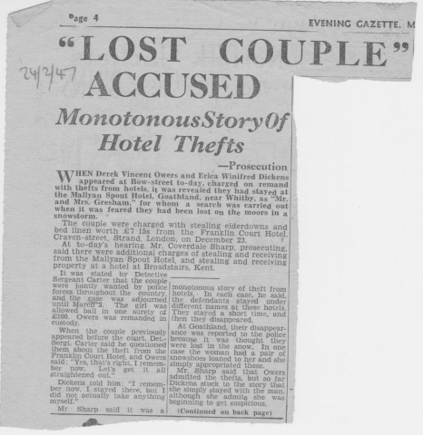 Missing couple accused of Goathland hotel thefts..