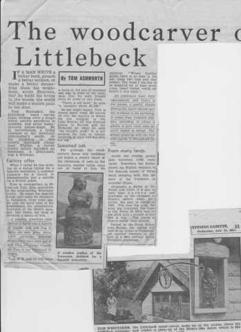 Feature on Littlebeck woodcarver