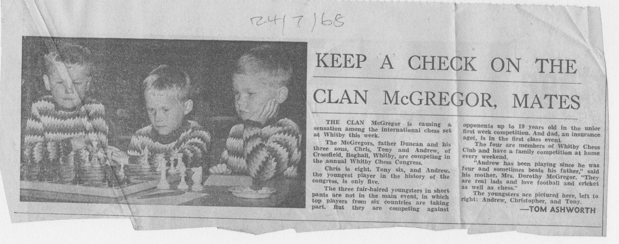 McGregor family take part in Chess Festival