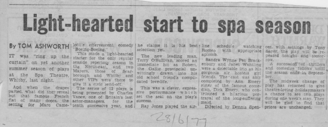 1977 Rep season opens at Whitby Spa again with Charles Vance Players