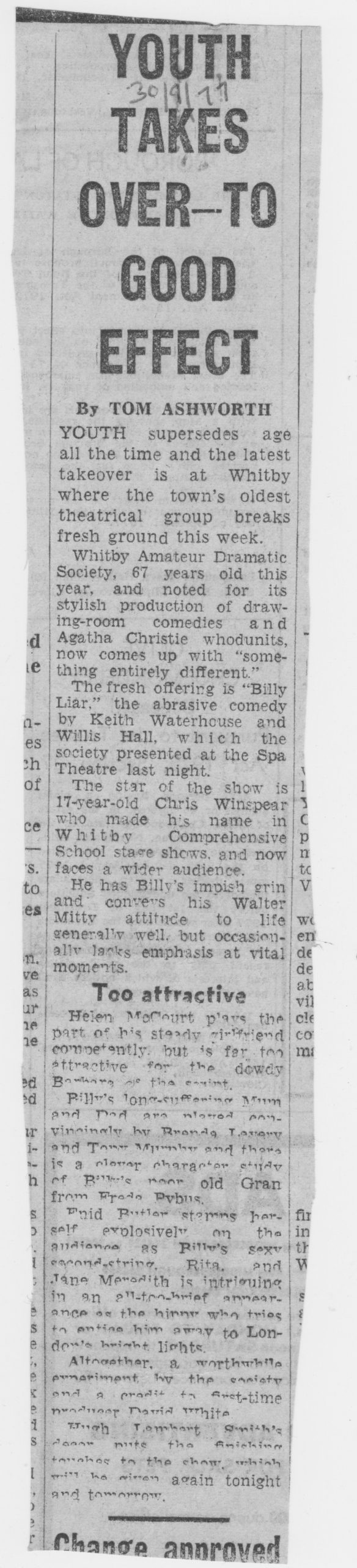 Autumn production of Billy Liar by Whitby amateur actors