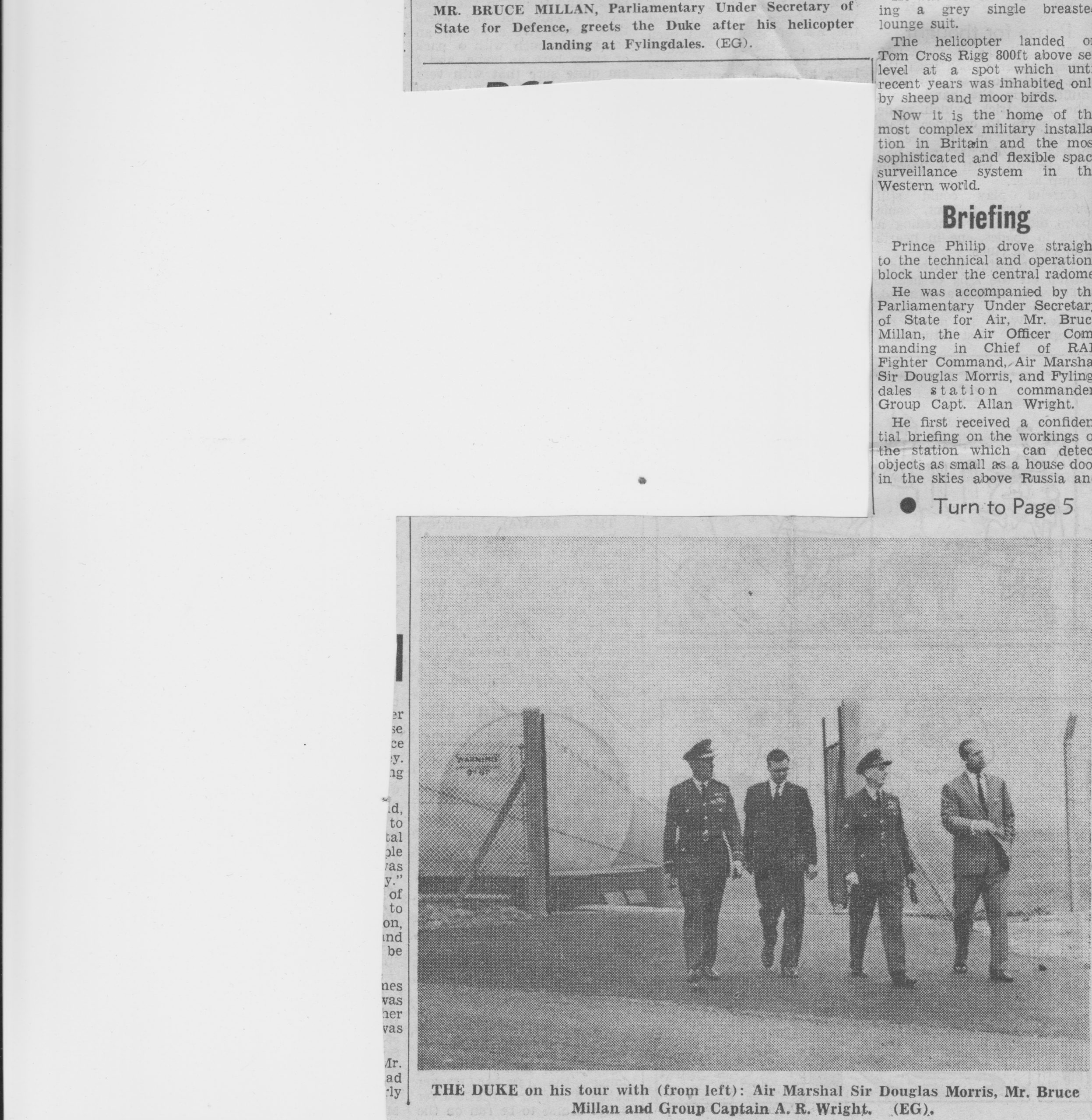 More text on the Duke's visit to Fylingdales