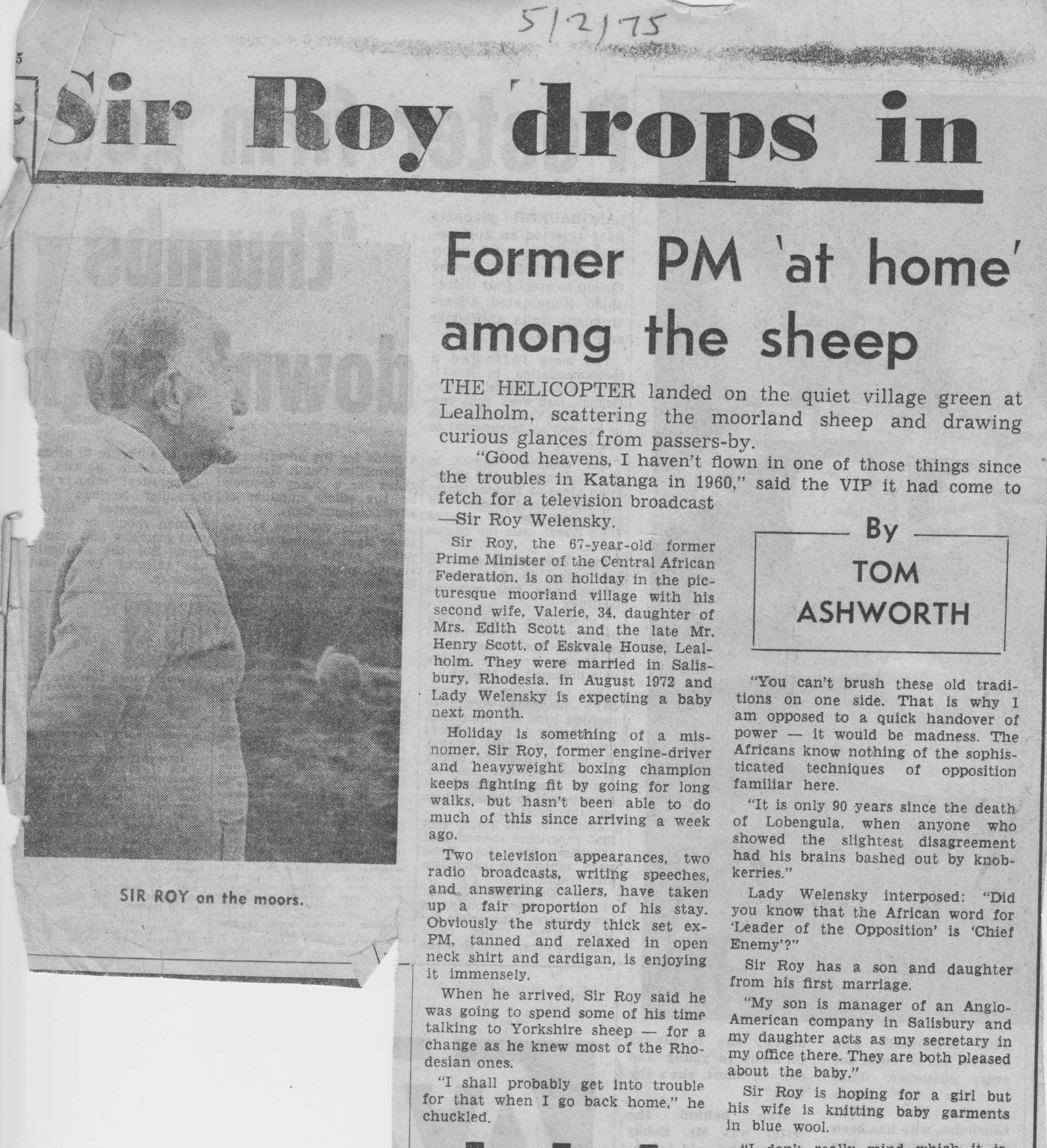Former African Premier drops in on Lealholm 1 of 2