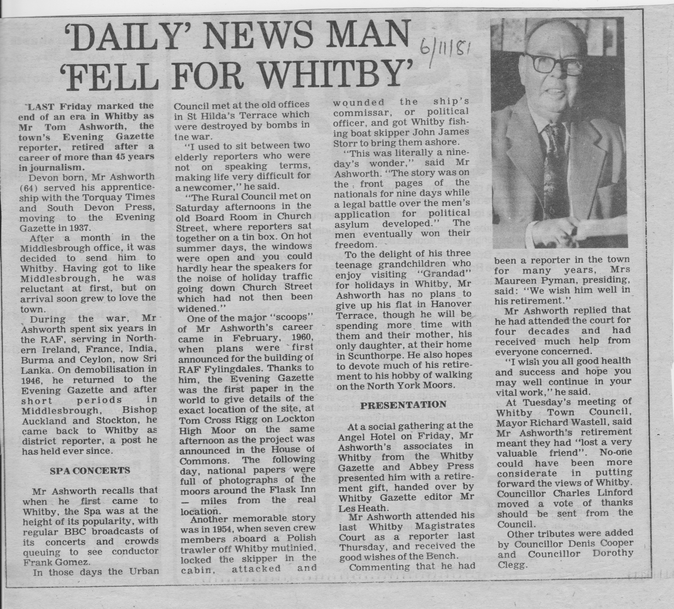 Tom retired in October 1981 after serving as Whitby reporter for 44 years