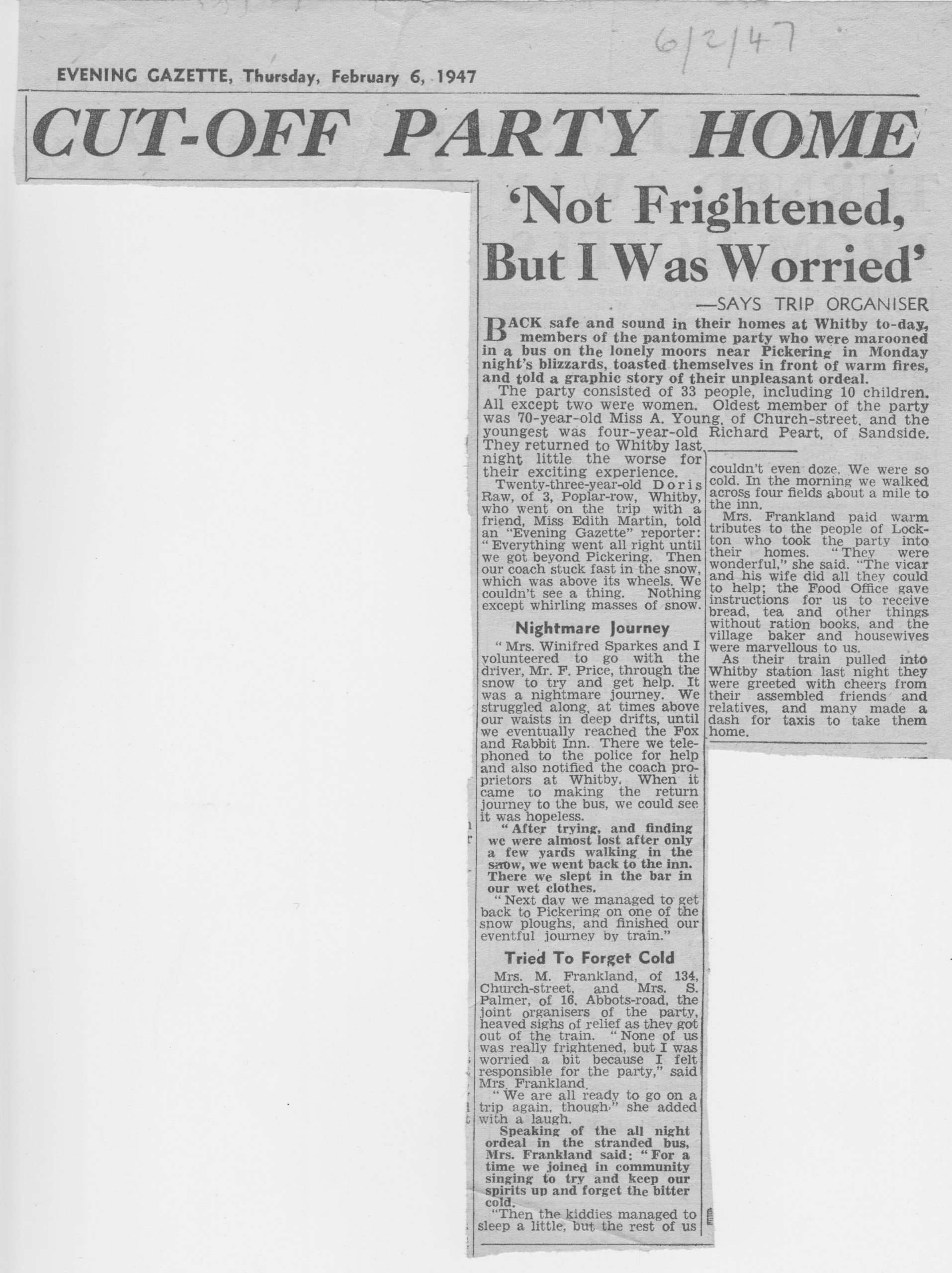 1947 terrible winter, 33 people in coach from whitby cut off in Goathland
